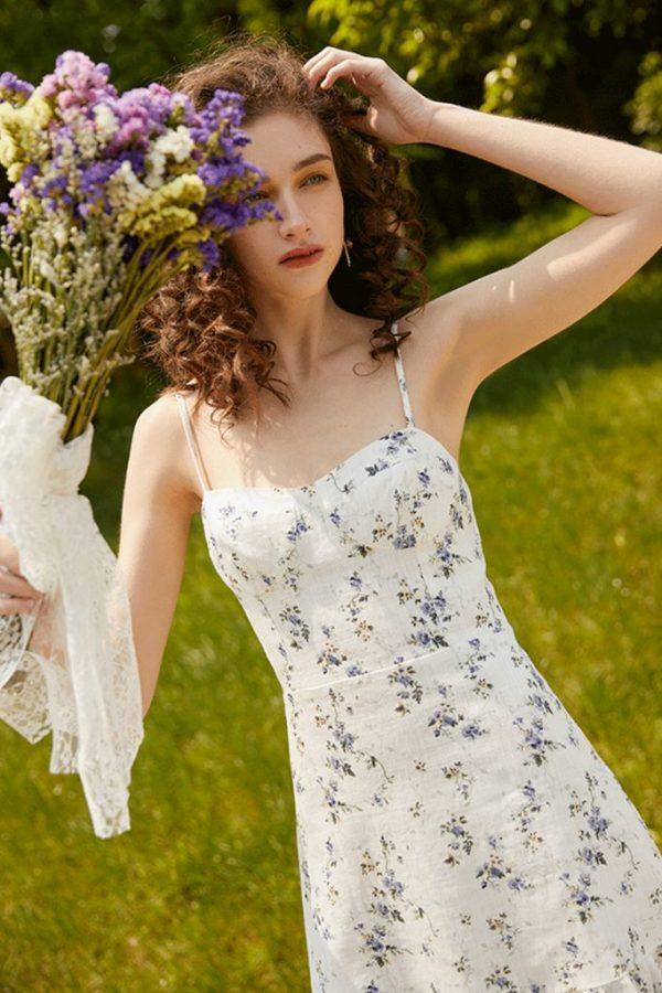 THE MOODSS Posie Linen Mini Dress-4